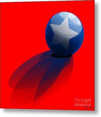 Blue Ball Decorated With Star Red Background Metal Print