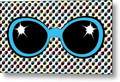 Cool Retro Blue Sunglasses Metal Print by MM Anderson