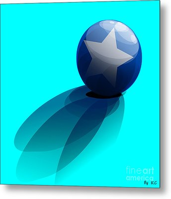 Blue Ball Decorated With Star Turquoise Background Metal Print