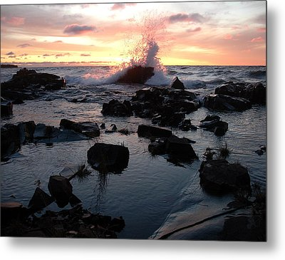 Cool Wave At Sunup Metal Print by Sandra Updyke