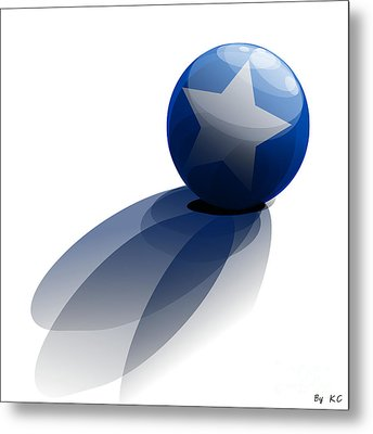 Blue Ball Decorated With Star Grass White Background Metal Print
