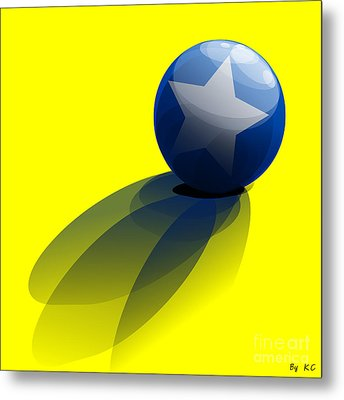 Blue Ball Decorated With Star Yellow Background Metal Print