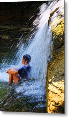 Cooling Off At Stony Brook State Park Metal Print