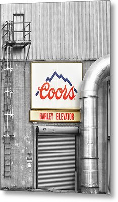 Coors Barley Elevator Bw Color Metal Print by James BO  Insogna