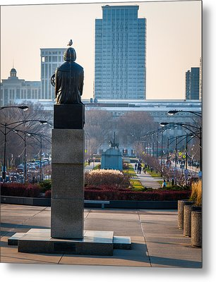 Copernicus Watches Over Chicago Metal Print by Cliff C Morris Jr