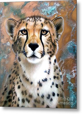 Copper Flash - Cheetah Metal Print