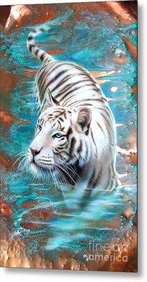Copper White Tiger Metal Print by Sandi Baker