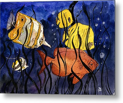 Coral Fishes Seaweed Metal Print by Juan  Bosco