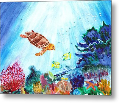 Metal Print featuring the painting Coral Reef by Donna Walsh