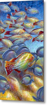 Metal Print featuring the painting Coral Reef Life I by Nancy Tilles