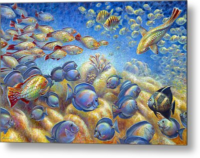 Metal Print featuring the painting Coral Reef Life by Nancy Tilles