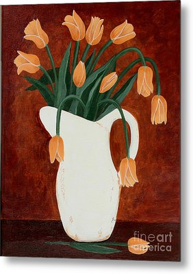 Coral Tulips In A Milk Pitcher Metal Print by Barbara Griffin