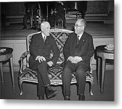 Cordell Hull With Adm. Nomura Metal Print by Underwood Archives