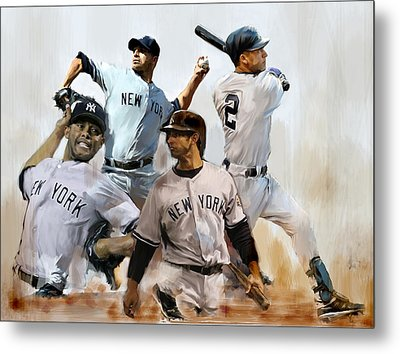 Core  Derek Jeter Mariano Rivera  Andy Pettitte Jorge Posada Metal Print by Iconic Images Art Gallery David Pucciarelli