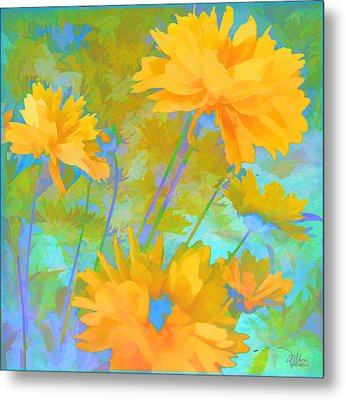 Coreopsis - Yellow And Green Metal Print