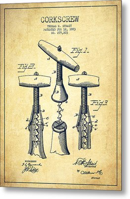 Corkscrew Patent Drawing From 1883 - Vintage Metal Print