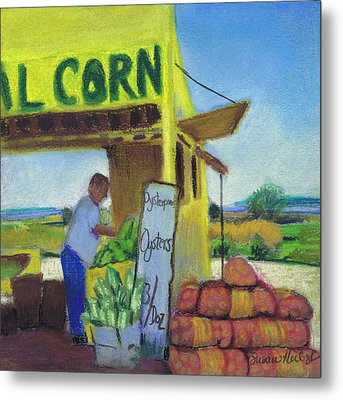 Corn And Oysters Farmstand Metal Print by Susan Herbst