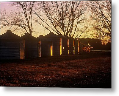 Metal Print featuring the photograph Corn Cribs At Sunset by Rodney Lee Williams