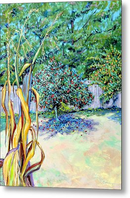 Metal Print featuring the painting Corn Stalk And Apple Tree  Autumn Lovers by Asha Carolyn Young
