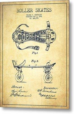 Cornelius Roller Skate Patent Drawing From 1881 - Vintage Metal Print