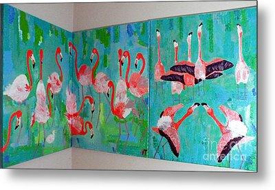 Metal Print featuring the painting Corner Flamingos by Vicky Tarcau