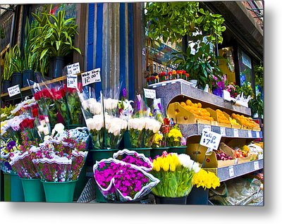 Corner Flower Stand Metal Print by Larry Goss