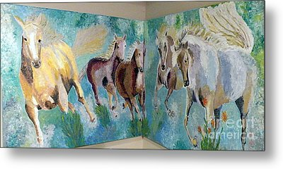Metal Print featuring the painting Corner Horses by Vicky Tarcau