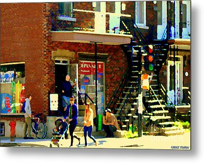 Corner Laurier Marche Maboule Depanneur Summer Stroll With Baby Carriage Montreal Street Scene Metal Print by Carole Spandau