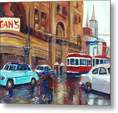 Corner St.catherine And Union Streets-fifties Montreal-vintage Street Scene Metal Print by Carole Spandau