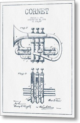 Cornet Patent Drawing From 1901 - Blue Ink Metal Print