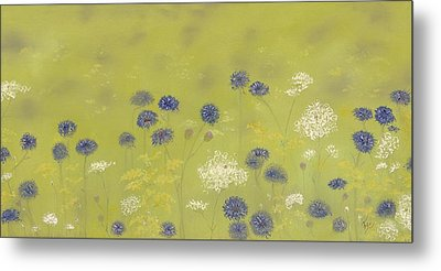 Cornflowers And Queen Anne's Lace Metal Print