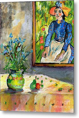 Cornflowers In French Pottery And Van Gogh Painting On Wall Metal Print by Ginette Callaway
