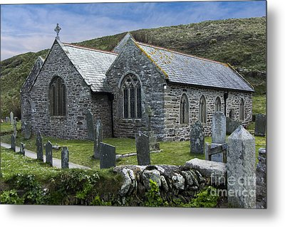 Cornish Seascape St Winwaloe Church Metal Print by Brian Roscorla