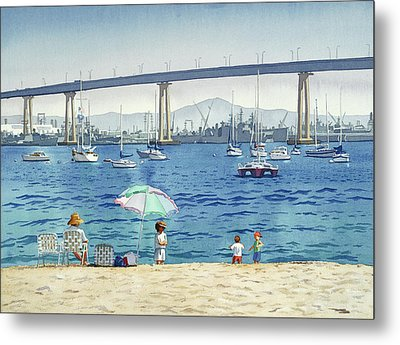 Coronado Beach And Navy Ships Metal Print by Mary Helmreich