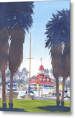 Coronado Boathouse And Palms Metal Print by Mary Helmreich