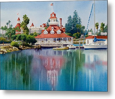 Coronado Boathouse Reflected Metal Print by Mary Helmreich