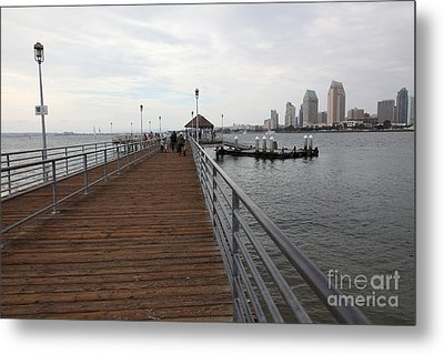 Coronado Pier Overlooking The San Diego Skyline 5d24353 Metal Print by Wingsdomain Art and Photography
