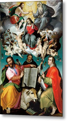 Coronation Of The Virgin With Saints Luke Dominic And John The Evangelist Metal Print by Bartolomeo Passarotti