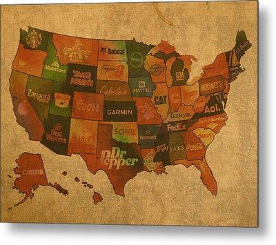Corporate America Map Metal Print