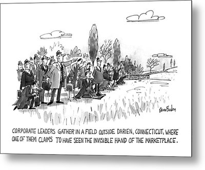Corporate Leaders Gather In A Field Metal Print by Dana Fradon