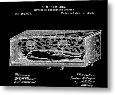 Corpse In Coffin Patent Metal Print