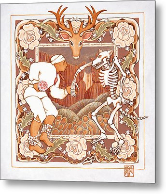 Corrido Del Venado Y Coyote En La Frontera Metal Print by Ruth Hooper