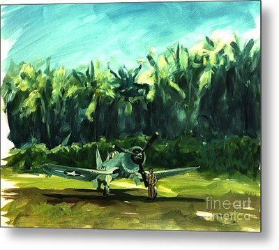 Metal Print featuring the painting Corsair In Jungle by Stephen Roberson