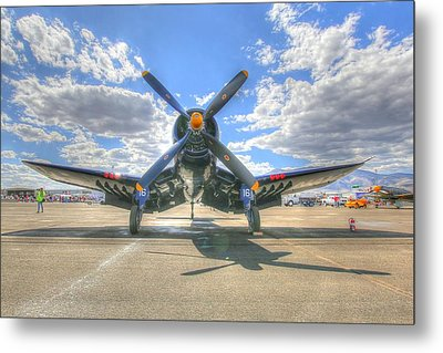 Corsair On The Flight Line At Reno Air Races Metal Print