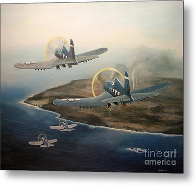Metal Print featuring the painting Corsairs Over Iwo by Stephen Roberson
