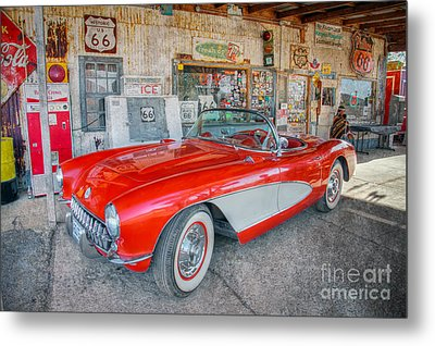 Metal Print featuring the photograph Corvette At Hackberry General Store by Marianne Jensen