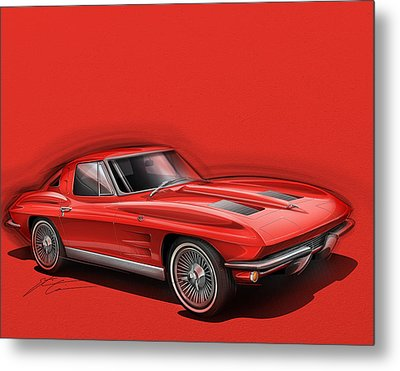 Corvette Sting Ray 1963 Red Metal Print by Etienne Carignan