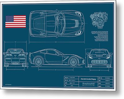 Corvette Stingray Blueplanprint Metal Print