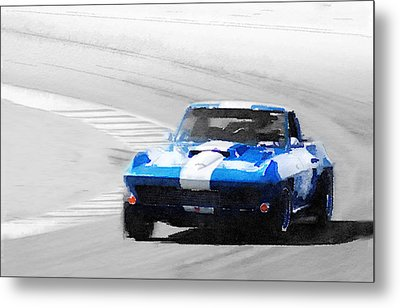 Corvette Stingray Laguna Seca Watercolor Metal Print by Naxart Studio