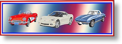 Corvettes In Red White And True Blue Metal Print by Jack Pumphrey